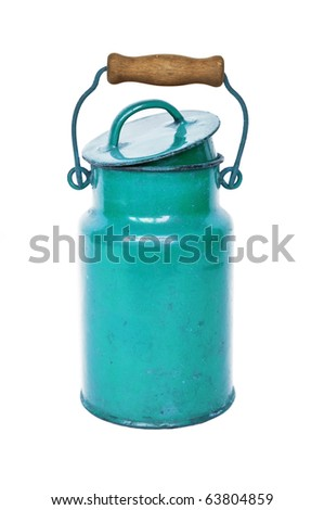 Old blue milk can isolated on white background