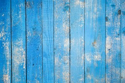 Old blue painted wood wall. Vintage background