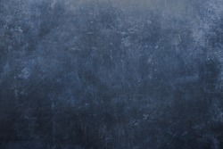 Old blue scratched metal grunge background or texture