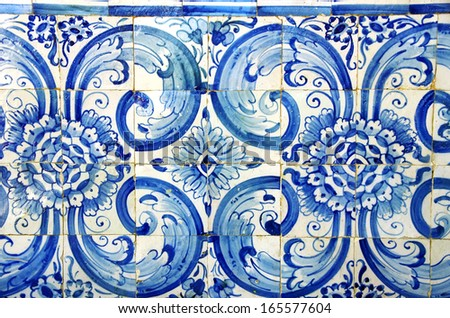 old blue tiles at Portugal