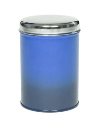 Old blue tin can, isolated on white background