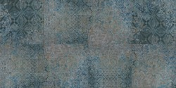 Old blue turquoise gray rusty vintage worn shabby patchwork square mosaic motif tiles stone concrete cement wall texture wallpaper background