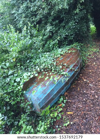 Old blue upturned boat with ivy growing over