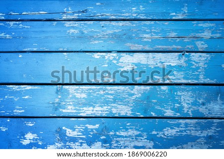 Old blue wood background with peeling paint. Horizontal wooden boards.  Stock photo ©
