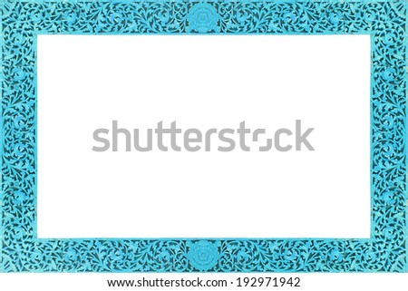 Old blue Wooden frame isolated on white background,Frame for text or image #192971942