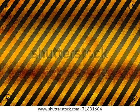 Old board of caution with black and yellow lines. Illustration