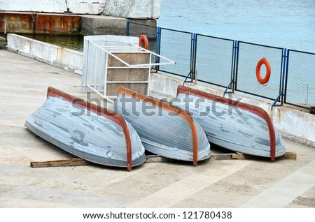 Old boat at beach lifeguard station, Odessa, Ukraine - stock photo