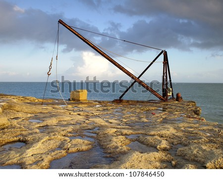 Old boat lifting equipment on Portland in Dorset, England.