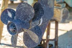 Old boat propeller. Close-up shot.