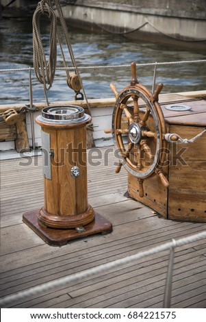 Old boat steering wheel from brass and wood  Free Images and Photos