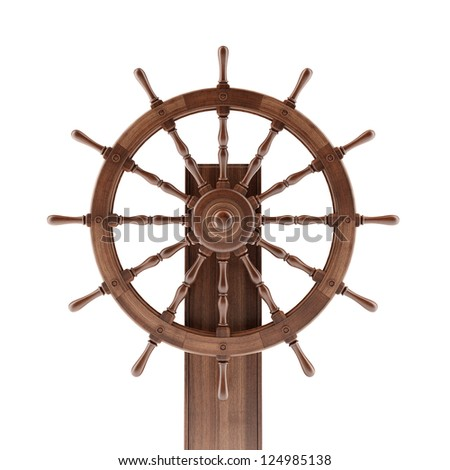 Old boat steering wheel isolated on a white background