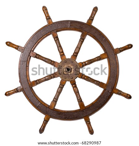 Old boat steering wheel isolated on the white