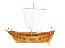 old boat with sail isolated on white background