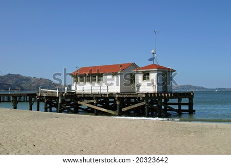 Old boathouse on the bay in San Francisco