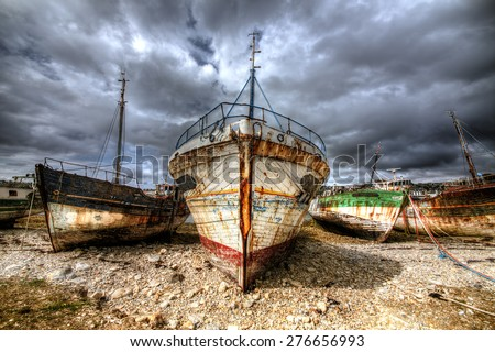 Stock Photo Old Boats at Camaret-sur-Mer, Brittany