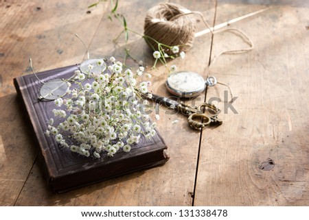 old book a bouquet of baby's breath (or Gypsophila), with scissors, pocket watch and string by a spring sunlight window.
