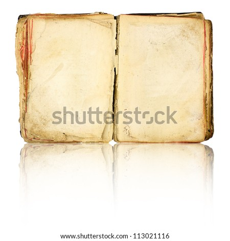 Old book blank isolated on white background