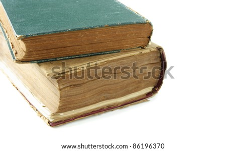 Old Book closeup isolated on white