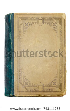 Old book cover isolated on white #743111755