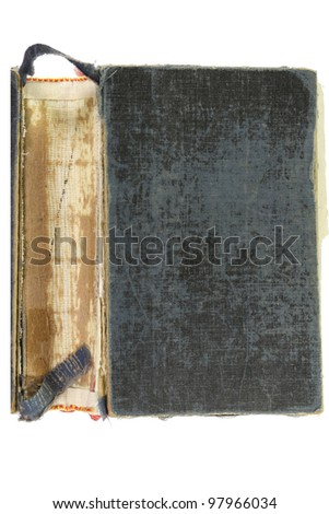Old book cover isolated on white background