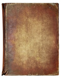 Old book cover, vintage texture, isolated on white background