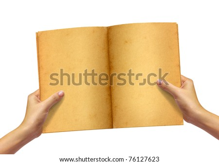 Old book in woman hand on white background