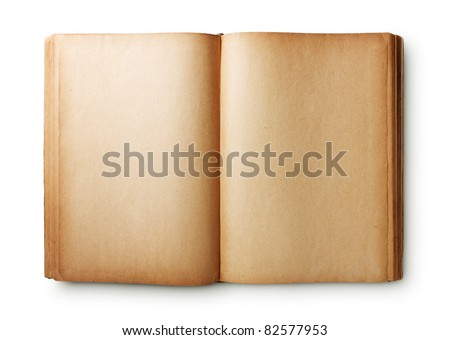 Old book isolated on white background with clipping path