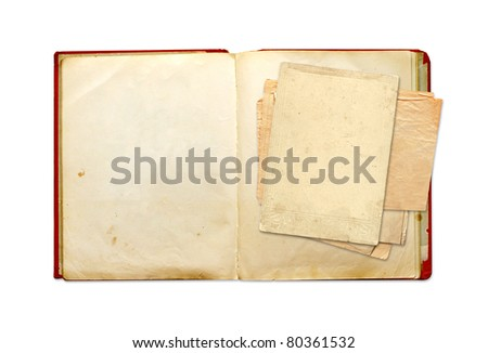 Old book. Objects isolated over white
