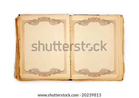 old book on the white background with frame. Includes clipping path