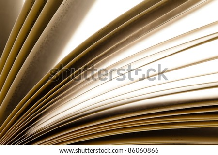 old book open, extreme closeup photo