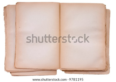 Old book open on both blank shabby pages.