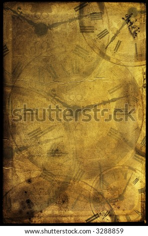 Old book page textured with stains & free designs & mixed with antique clocks. Image in beauty vintage colors.