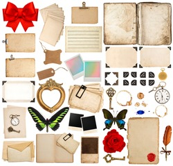 old book pages, paper sheets, cards, corner and photo frames isolated on white background. scrapbook elements for holidays greetings