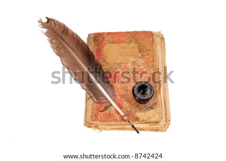 Old book, quill and black ink isolated on white