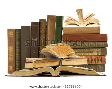 Old book shelf isolated on white background