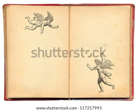 Old book with angels illustration