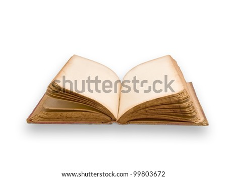 old book with blank pages - stock photo