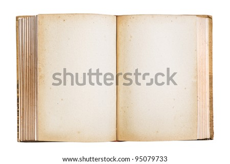 Old book with blank stained pages, clipping path.