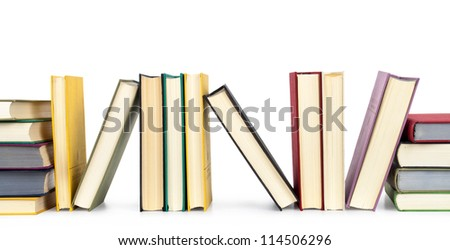 Old books against a white background