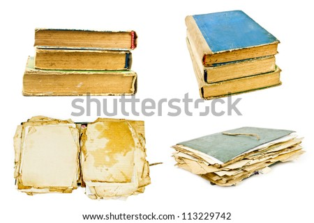 old books and old file with sheets of paper