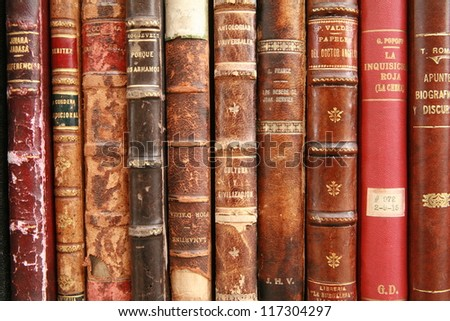 old books at display on a market