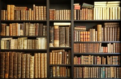 old books on wooden shelf