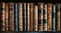 Old books on wooden shelf. Tiled Bookshelf background.  Concept on the theme of history, nostalgia, old age. Retro style.