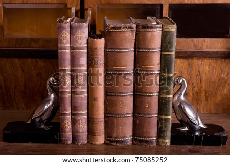 old books on wooden table with antique metallic gooses supports