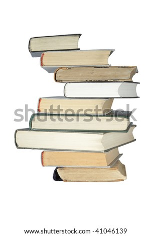 old books stack isolated over white