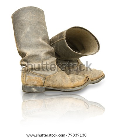 Old boots isolated on white