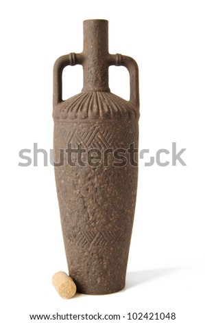 old bottle of wine clay - stock photo