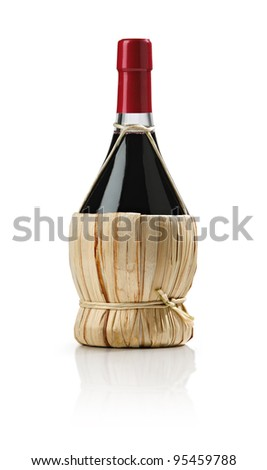 Old bottle of wine, fiasco, on white background