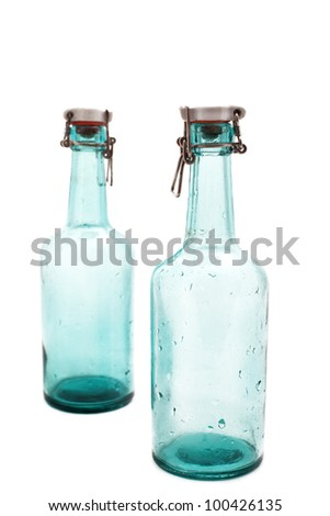 old bottles on white background
