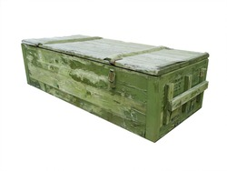 Old Box of ammunition. With Clipping Path. Green box.